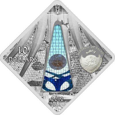 Palau - 2012 - 10 dollar - Sacred Art BRASILIA CATHEDRAL (PROOF)