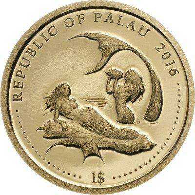 Palau - 2016 - 1 Dollar - Marine life CORAL HIND -SMALL GOLD- (PROOF)