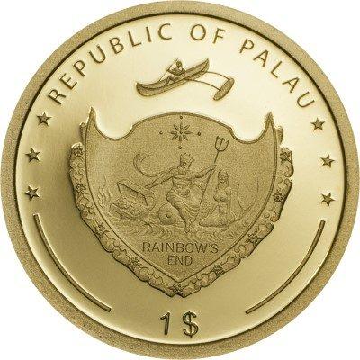 Palau - 2017 - 1 Dollar - Four Leaf Clover in Gold (PROOF)