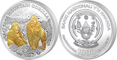 Rwanda - 2008 - 1000 Francs - Gorillas (with 4 diamond eyes, 3oz silver) (PROOF)