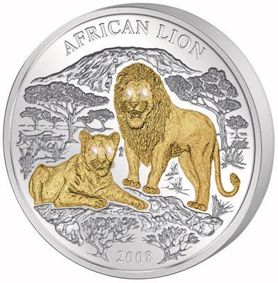 Rwanda - 2008 - 1000 Francs - Lions (with 4 diamond eyes, 3oz silver) (PROOF)