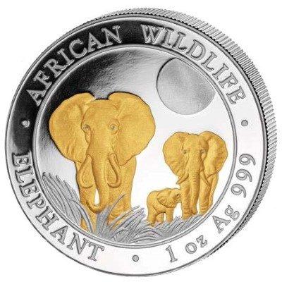 Somalia - 2014 - 100 Shilling - African Wildlife Elephant Gold-plated  (BU)