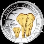 Somalia - 2015 - 100 Shilling - African Wildlife Elephant Gold-plated  (BU)