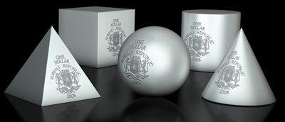 Somalia - 2008 - 5x 1 Dollar - Geometrics CONE, PYRAMID, BALL, CYLINDER, CUBE (BU)
