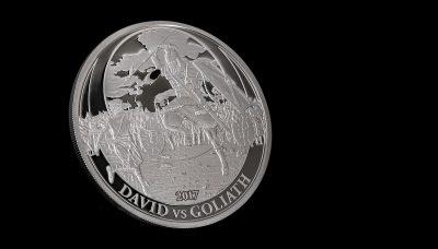 Palau - 2017 - 2 Dollars - Biblical Stories DAVID vs GOLIATH