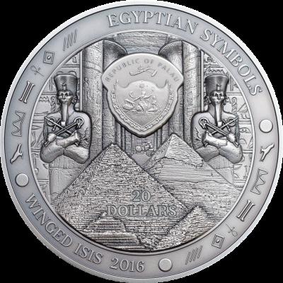 Palau - 2016 - 20 Dollars - Egyptian Symbols WINGED ISIS
