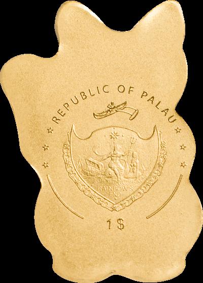 Palau - 2019 - 1 Dollar - Maneki Neko small gold