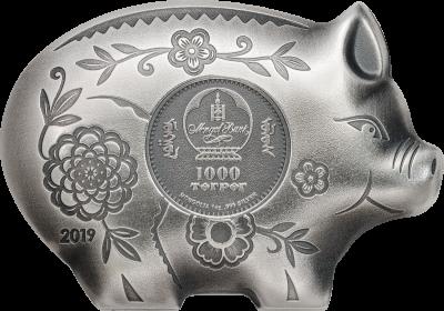 Mongolia - 2019 - 1000 Togrog - Jolly Silver Pig