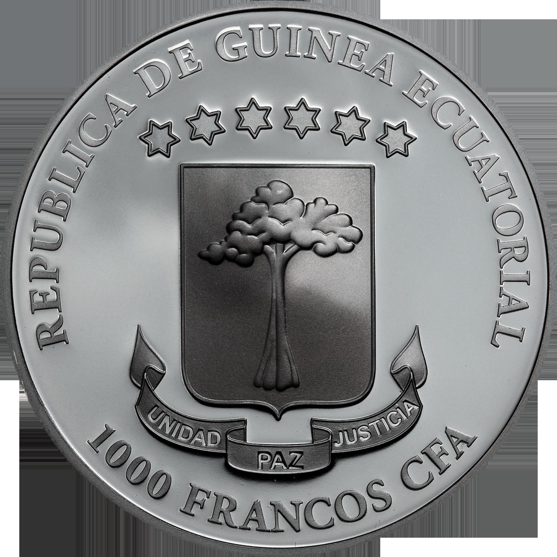 2019 1 Oz Silver 1000 Francs Equatorial Guinea LUNA SANGRE Crystal Skull Coin.