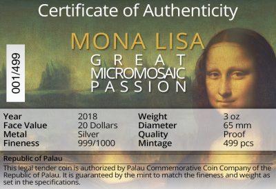 Palau - 2018 - 20 Dollars - Mona Lisa Micromosaic Passion