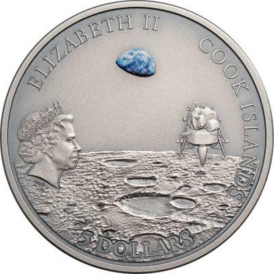 Cook Islands - 2019 - 5 Dollars - Moon Footprint Apollo 11 ann. with meteorite