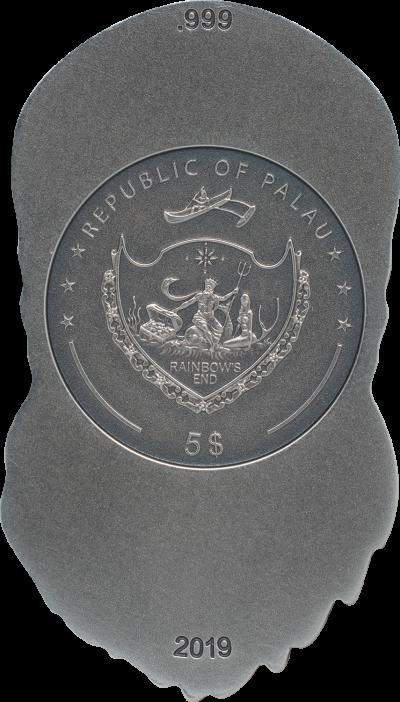 Palau - 2019 - 5 Dollars - Biker Skull