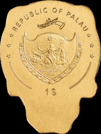 Palau - 2019 - 1 Dollar - Golden Biker Skull