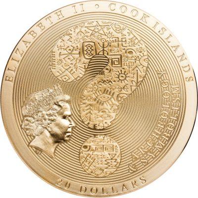 Archeology & Symbolism Series 3 coin GILDED editions AZTEC CALENDAR, MANDALA, SAMSARA