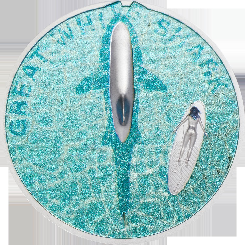 Palau - 2021 - 5 Dollars - Great White Shark
