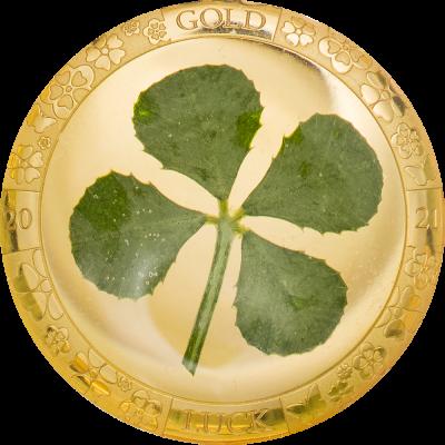 Palau - 2021 - 1 Dollar - Four Leaf Clover in Gold