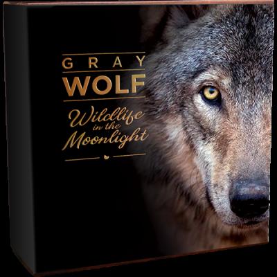 Niue - 2020 - 5 Dollars - Gray Wolf Wildlife in Moonlight