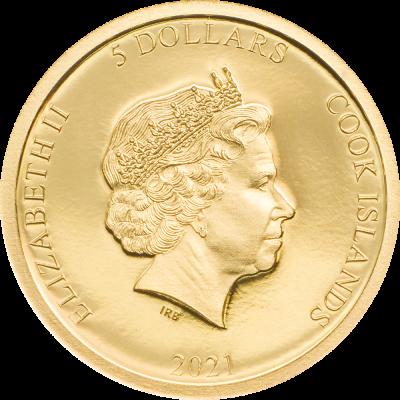 Cook Islands - 2021 - 5 Dollars - Terracotta Warriors Small Gold