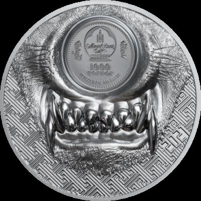 Mongolia - 2021 - 1000 Togrog - Mystic Wolf 2 oz Silver Black Proof