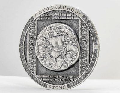 Cook Islands - 2021 - 20 Dollars - Aztec Coyolxauhqui Stone Antiqued – Archeology & Symbolism