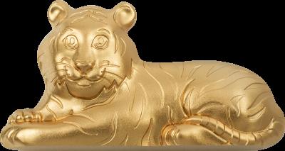 Mongolia - 2022 - 1000 Togrog - Charming Silver GILDED Tiger
